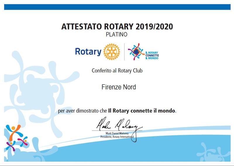 Attestato Rotary Club Firenze Nord platino